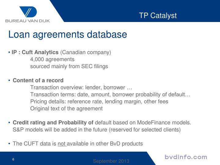 Loan agreements database