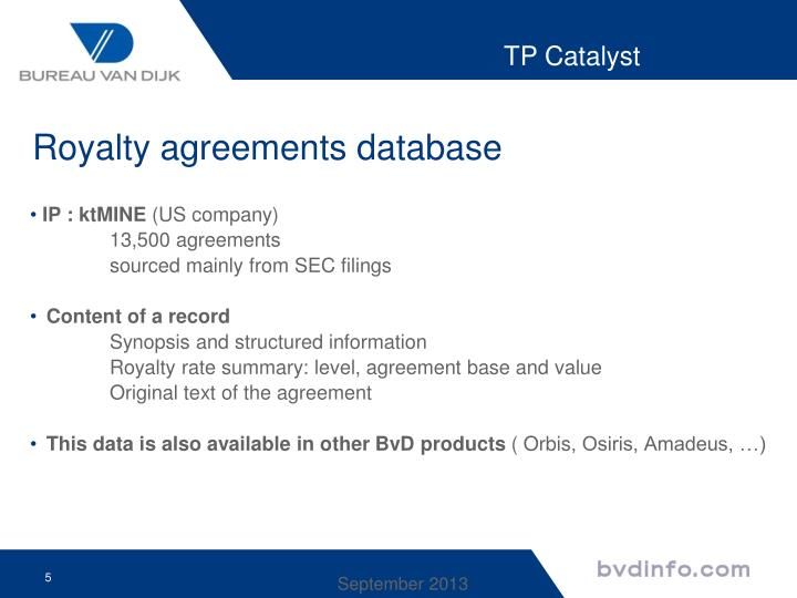 Royalty agreements database