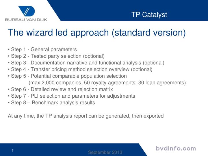 The wizard led approach (standard version)