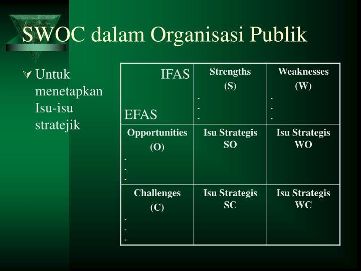 SWOC dalam Organisasi Publik