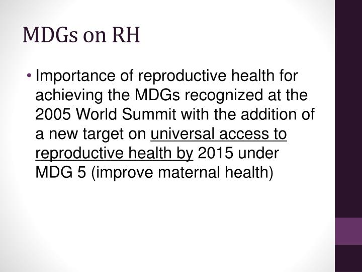 MDGs on RH