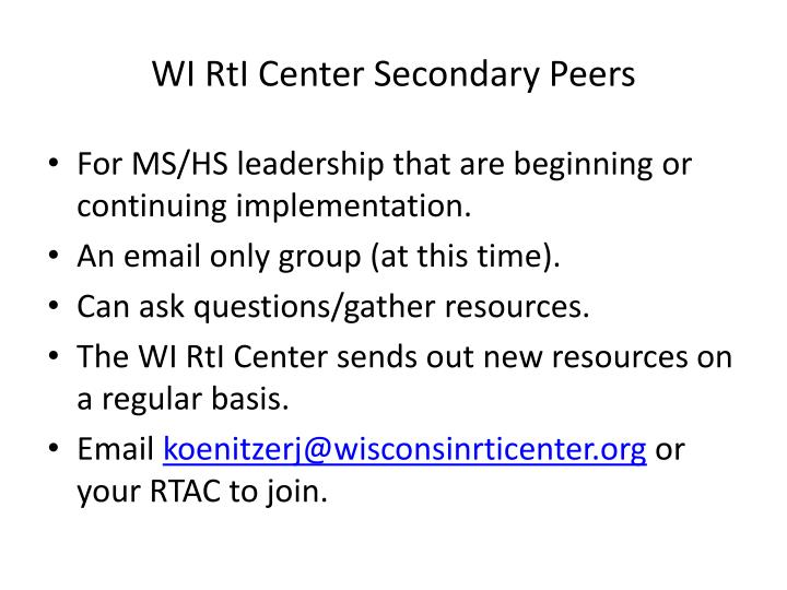 WI RtI Center Secondary Peers