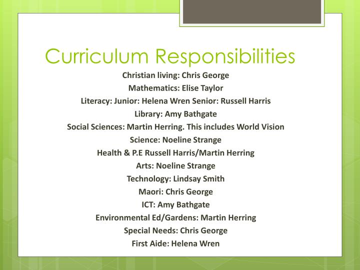 Curriculum Responsibilities