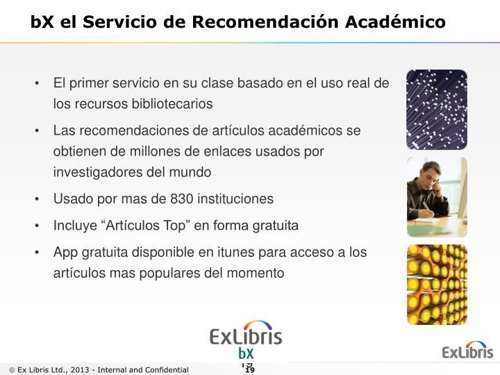 bX el Servicio de Recomendación Académico