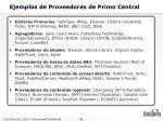 ejemplos de proveedores de primo central