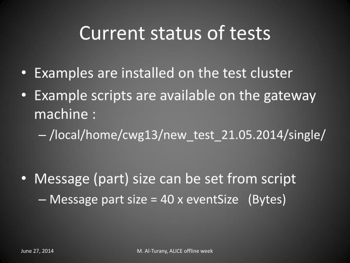 Current status of tests