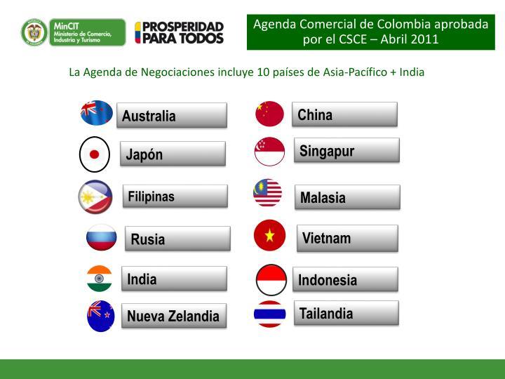 Agenda Comercial de Colombia aprobada por el CSCE – Abril 2011