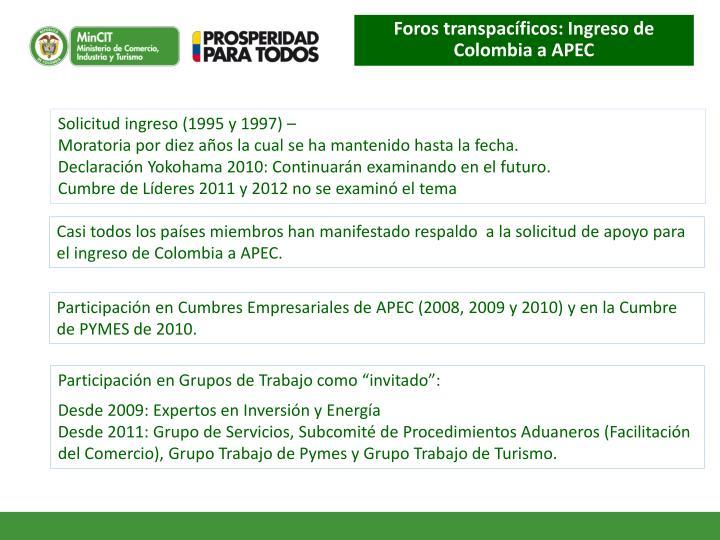 Foros transpacíficos: Ingreso de Colombia a APEC