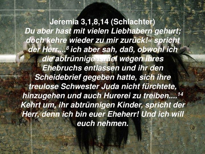 Jeremia 3,1,8,14 (Schlachter)