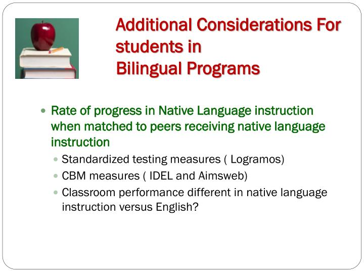 Additional Considerations For students in