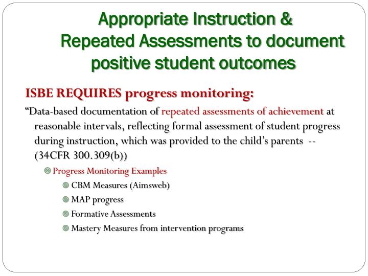 Appropriate Instruction &