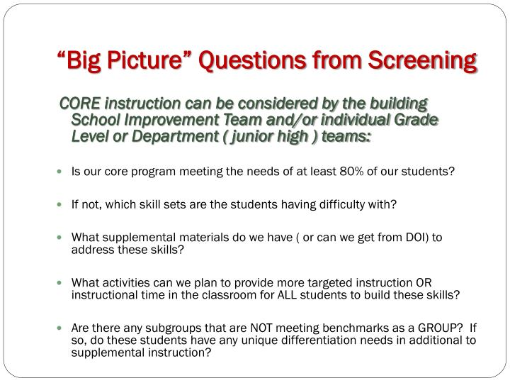 """Big Picture"" Questions from Screening"
