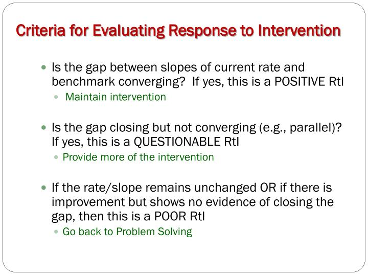 Criteria for Evaluating Response