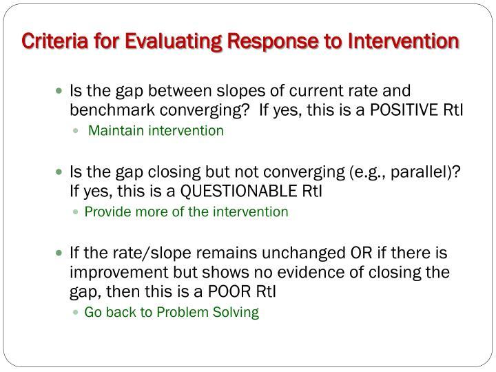 Criteria for Evaluating Response