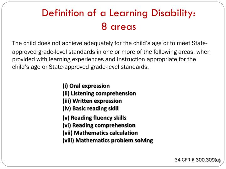 Definition of a Learning Disability: