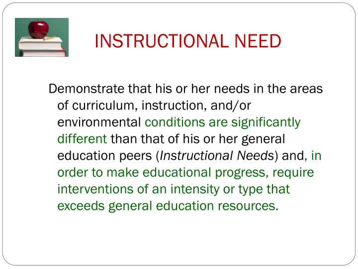 INSTRUCTIONAL NEED