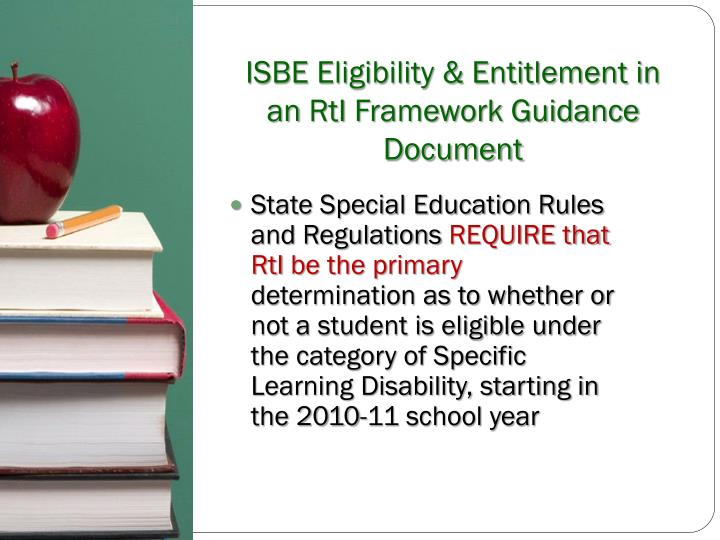 ISBE Eligibility & Entitlement in an
