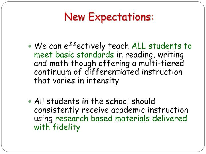 New Expectations: