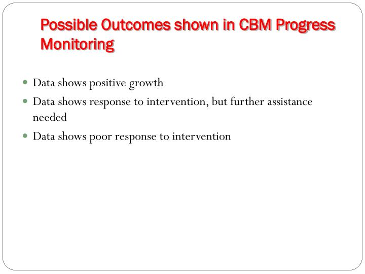 Possible Outcomes shown in CBM Progress Monitoring