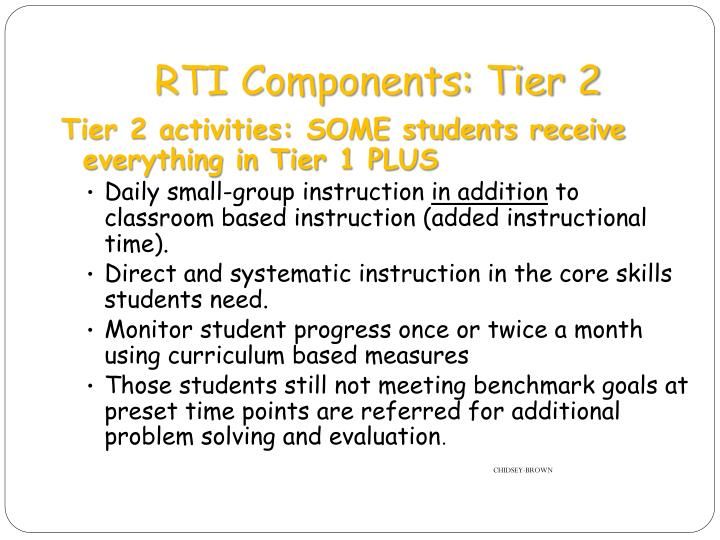 RTI Components: Tier 2