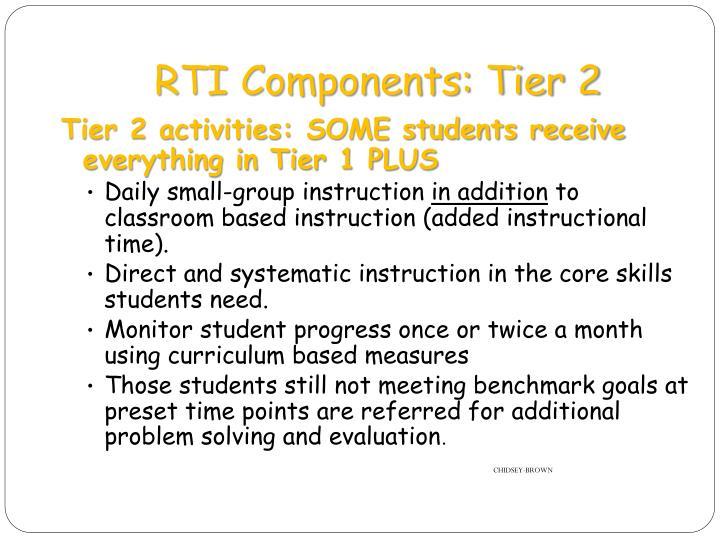 RTI Components: Tier 2
