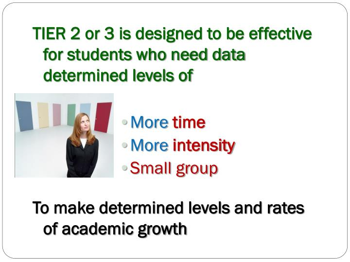 TIER 2 or 3 is designed to be effective for students who need data determined levels of