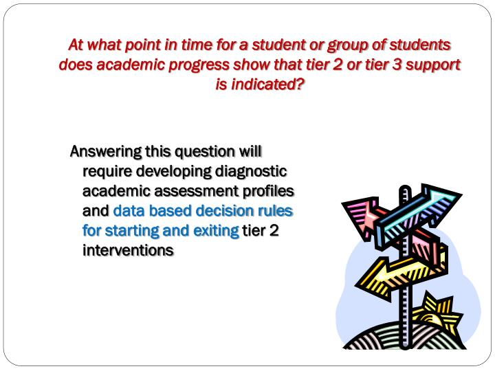At what point in time for a student or group of students does academic progress show that tier 2 or tier 3 support  is indicated?