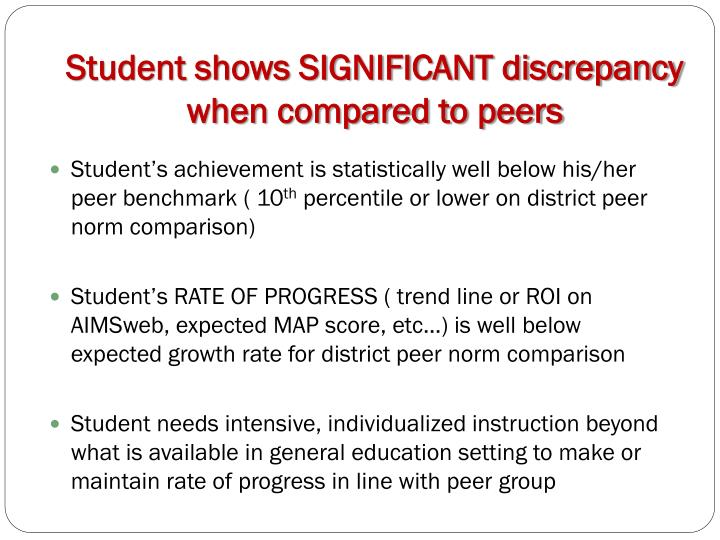 Student shows SIGNIFICANT discrepancy