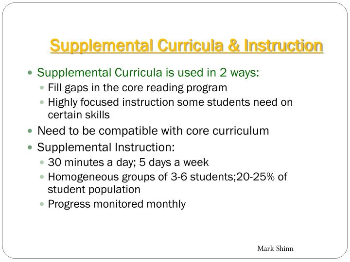 Supplemental Curricula & Instruction