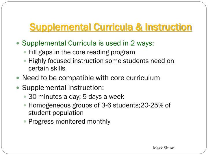 Supplemental Curricula & Instruction