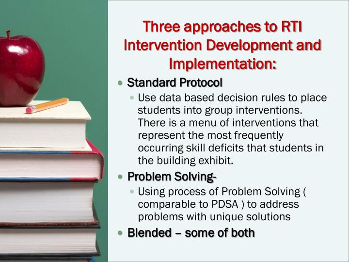 Three approaches to RTI Intervention Development and Implementation: