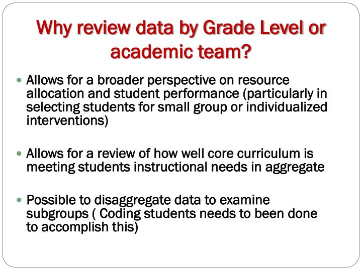 Why review data by Grade Level or academic team?