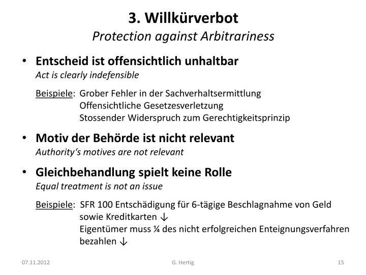 3. Willkürverbot