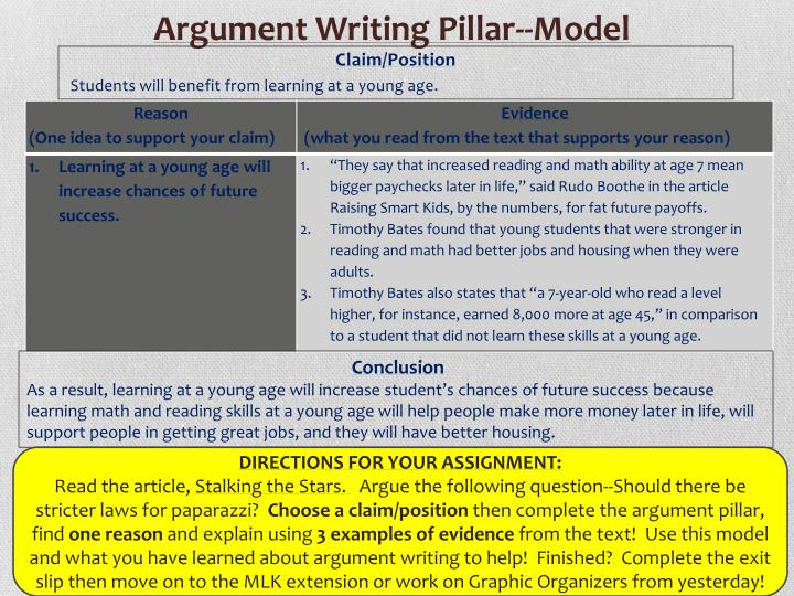 Argument Writing Pillar--Model