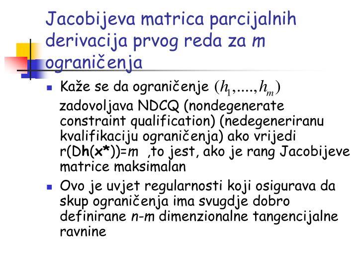 Jacobijeva matrica parcijalnih derivacija prvog reda za