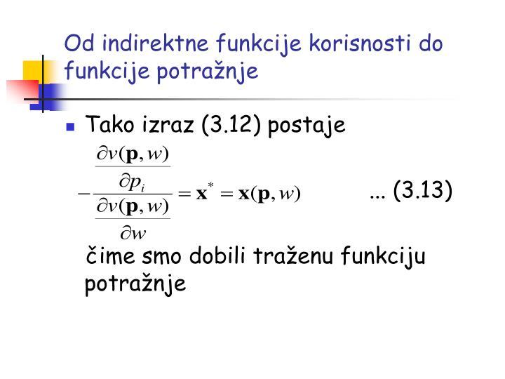 Od indirektne funkcije korisnosti do funkcije potražnje