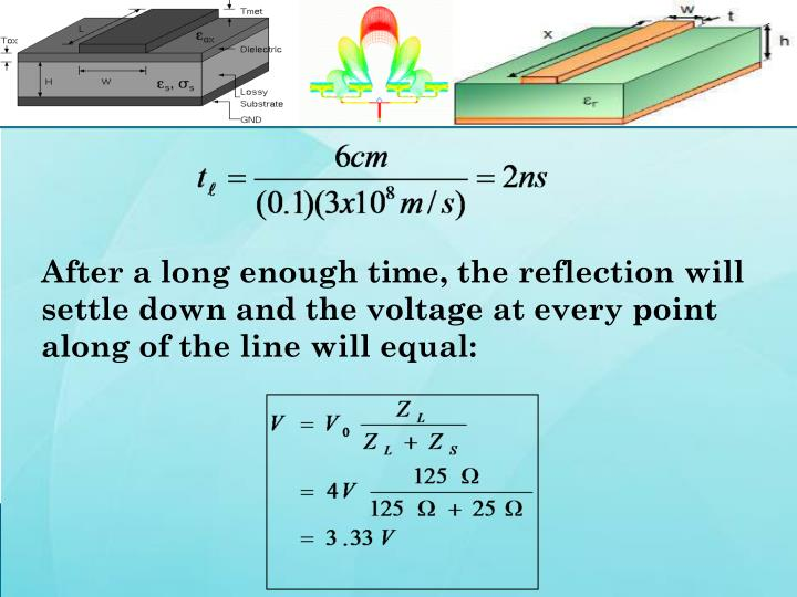 After a long enough time, the reflection will settle down and the voltage at every point along of the line will equal: