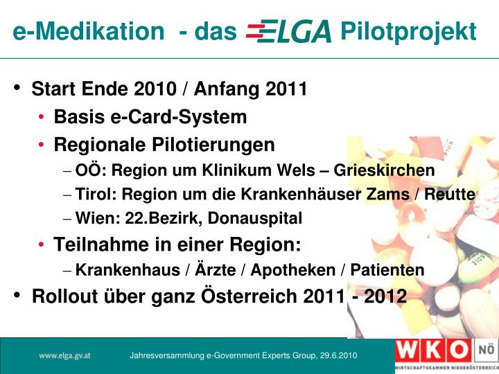 e-Medikation  - das    Pilotprojekt