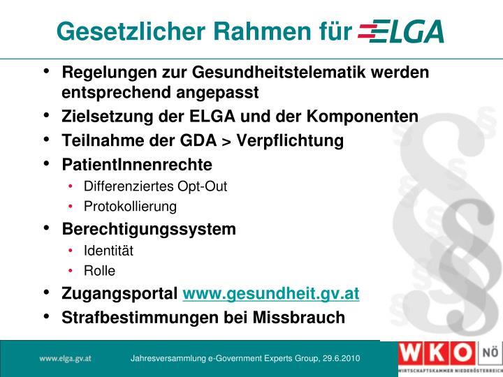 Gesetzlicher Rahmen für