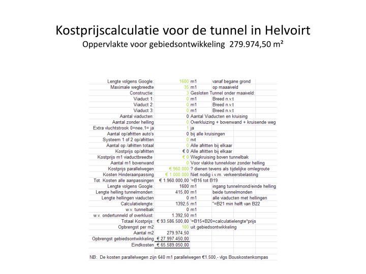 Kostprijscalculatie voor de tunnel in Helvoirt