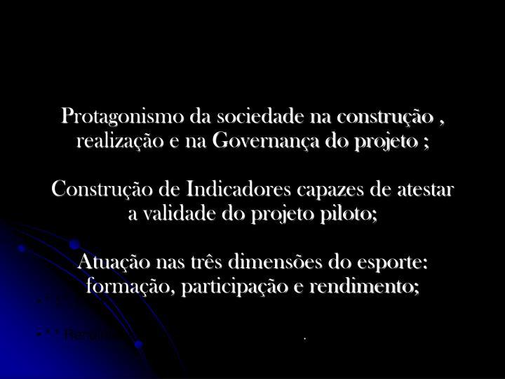 Protagonismo da sociedade na construção , realização e na Governança do projeto ;