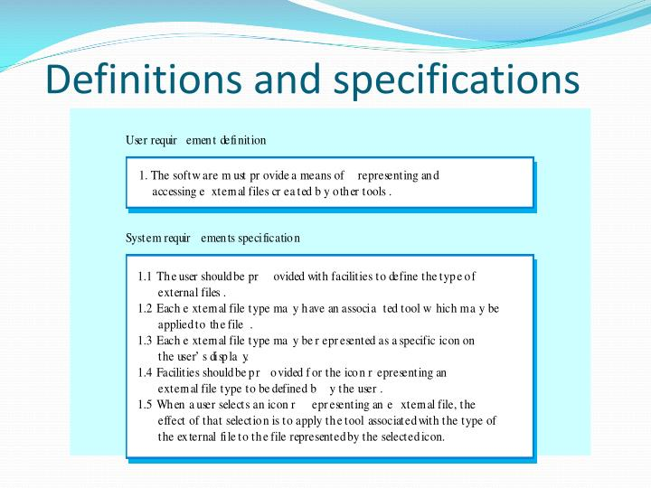 Definitions and specifications