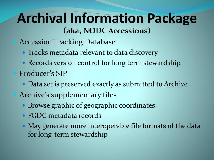 Archival information package