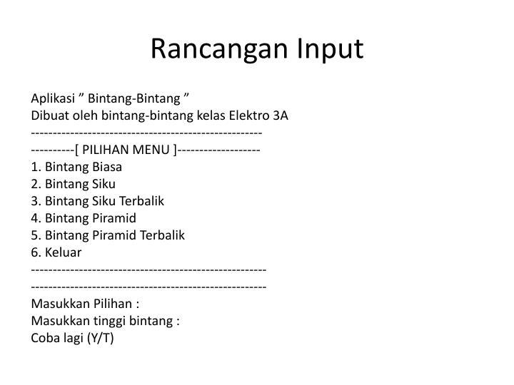 Rancangan Input