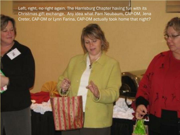 Left, right, no right again. The Harrisburg Chapter having fun with its Christmas gift exchange.  Any idea what Pam