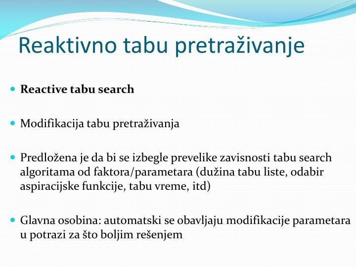 Reaktivno tabu pretraživanje
