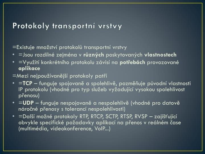 Protokoly transportní vrstvy
