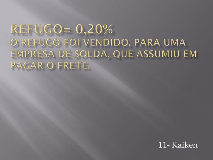 Refugo= 0,20%