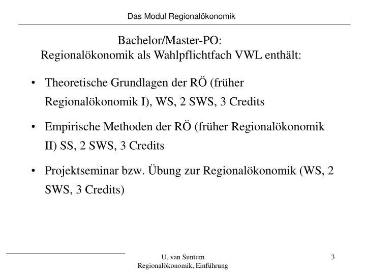 Das Modul Regionalökonomik