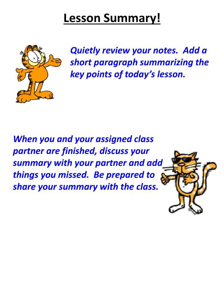 Lesson Summary!